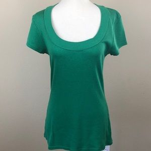 Express Sexy Basics Scoop Neck Green T-Shirt